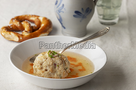 bavarian bacon dumpling in a broth