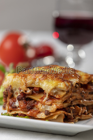 portion of lasagna on a plate