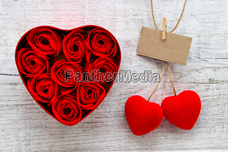red roses in a heart shaped