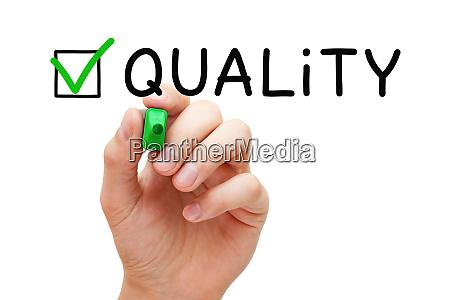quality assurance green check mark concept