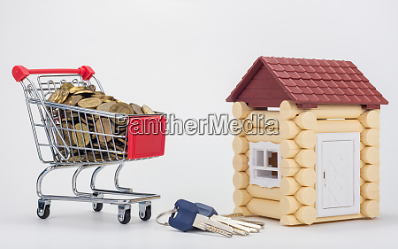 grocery cart filled with coins a