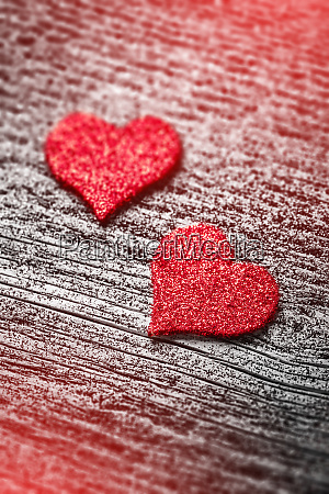 red felt love hearts