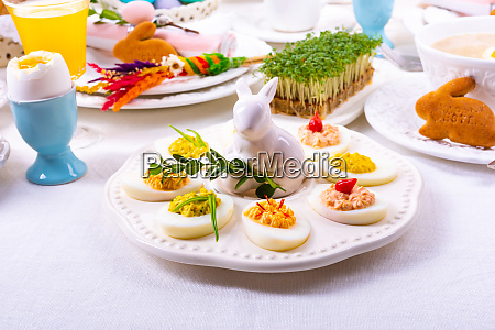 a colorful and festive easter table