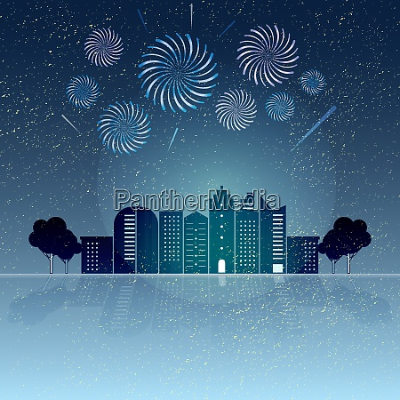 created village with firework sky background