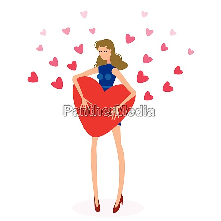 beautiful girl holding big red heart