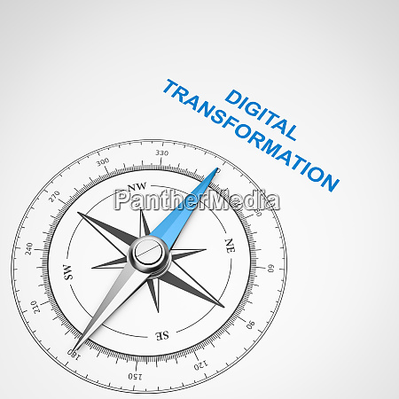 compass on white background digital transformation