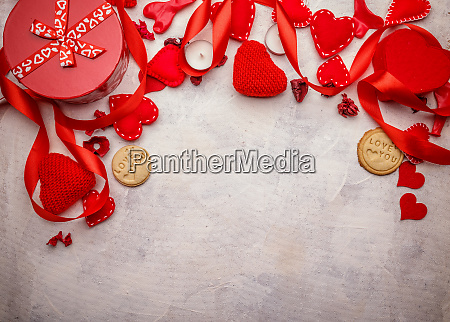 red hearts gifts and candles
