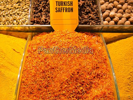 turkish saffron and spices at arab