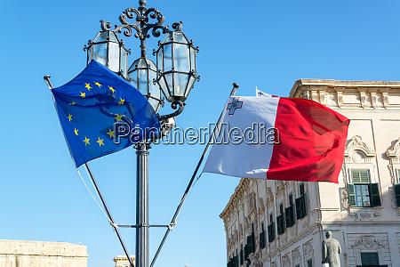 maltese and european flags