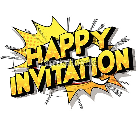 happy invitation comic book style