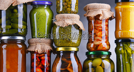 jars with variety of pickled vegetables
