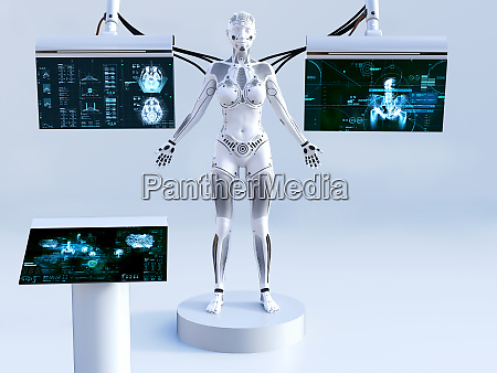 3d rendering of female robot connected