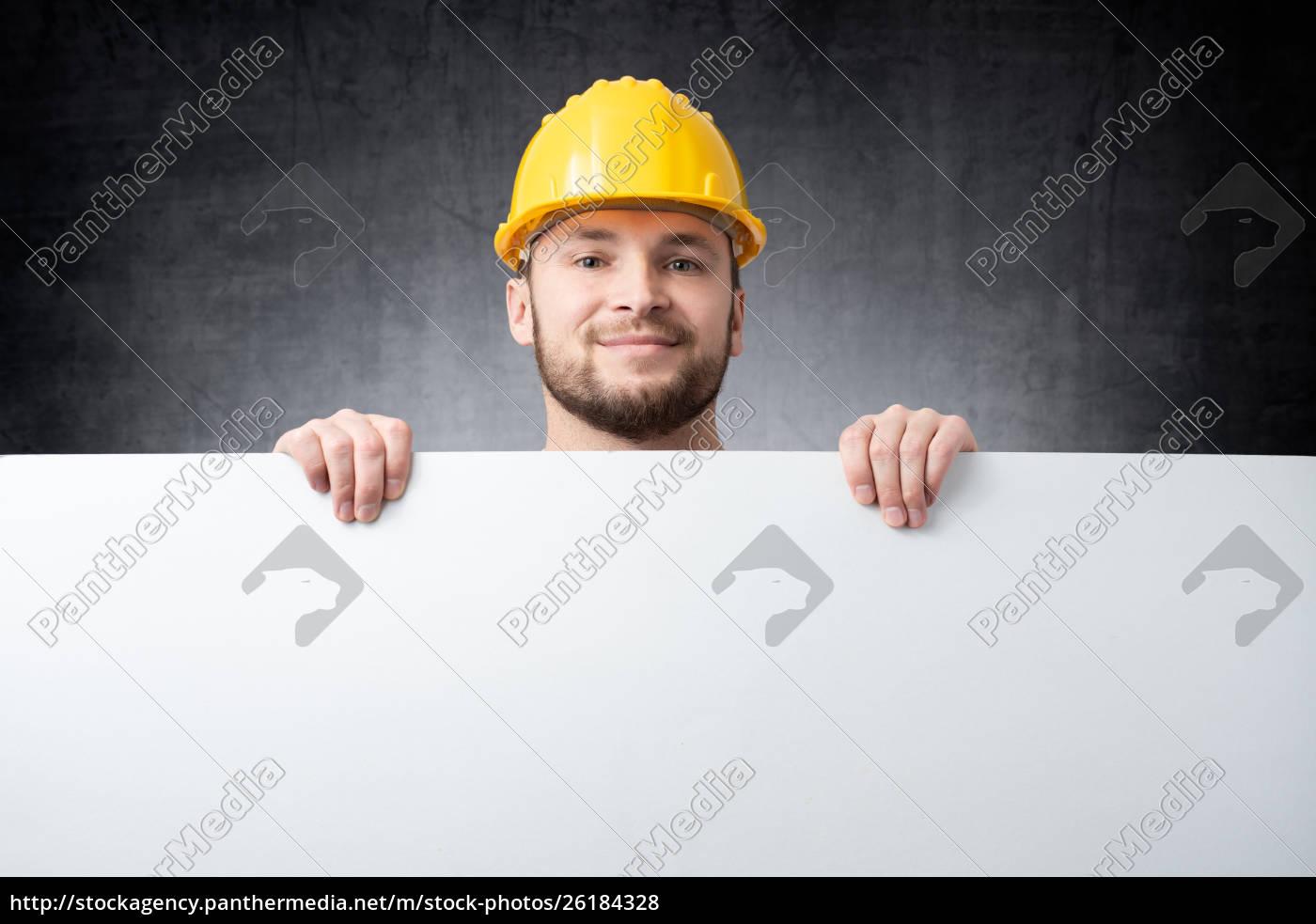 worker, holding, blank, board - 26184328