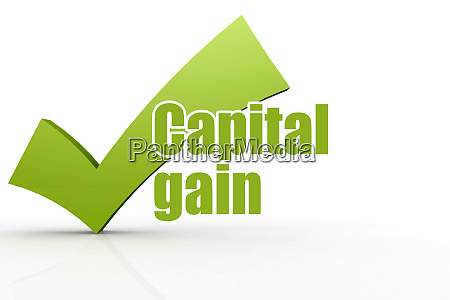 capital gain word with green checkmark