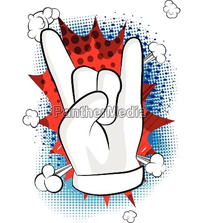 vector cartoon hand in rocker pose