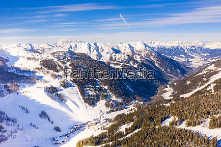 zauchensee panorama during a beautiful sunny