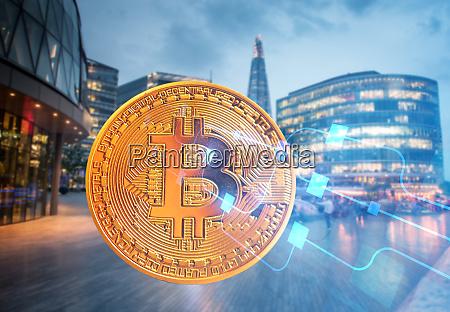 bitcoin against skyscrapers futuristic smart
