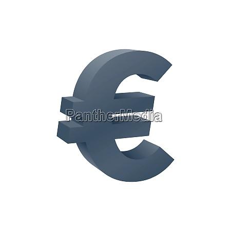 three dimensional euro symbol currency icon
