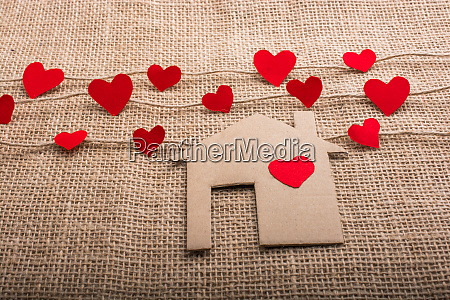 love concept with paper shaped heart