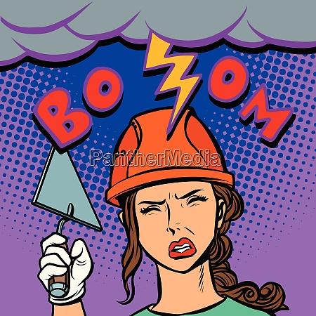 woman builder lightning beats on the