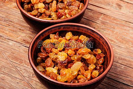 ceramic bowl with raisins