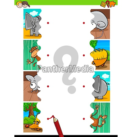 match jigsaw puzzles educational activity