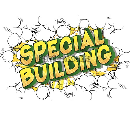 special building comic book style