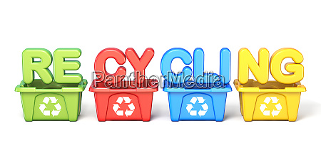 recycle bins with text recycling 3d