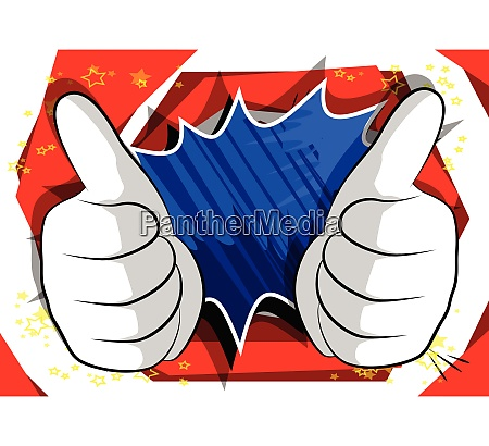 cartoon hands making thumbs up sign