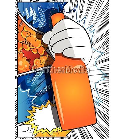 cartoon hand holding a bottle