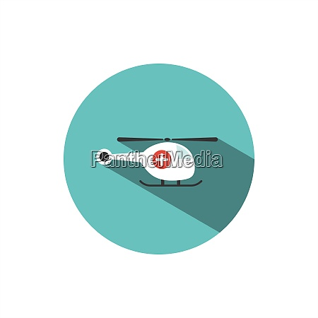 emergency helicopter icon with shade on