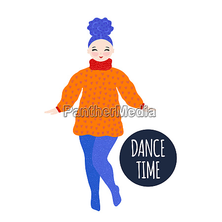 girl in warm dress dancing and