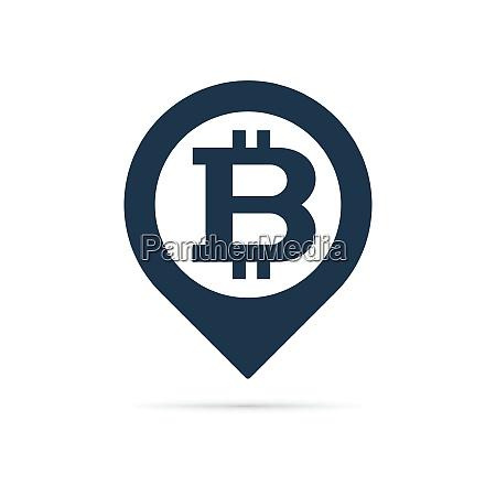 bitcoin symbol address pin icon