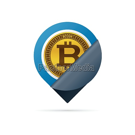 gold colored bitcoin symbol address pin