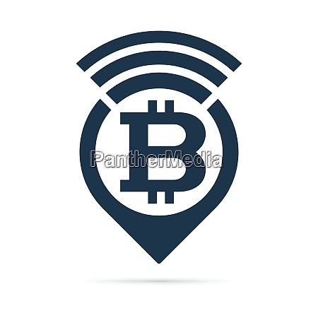 bitcoin symbol address pin icon with