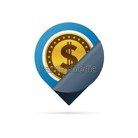 gold colored dollar sign address pin