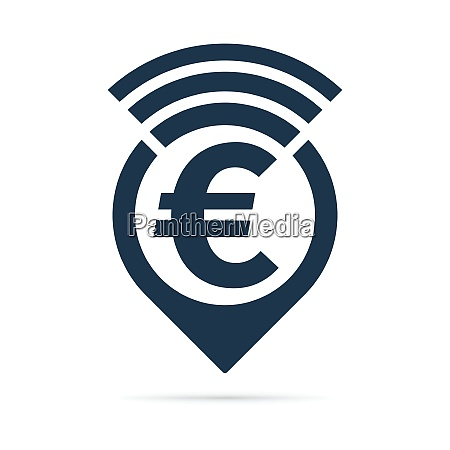 euro symbol address pin icon with