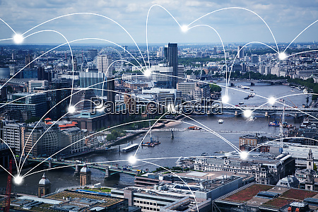 smart city and connection lines internet