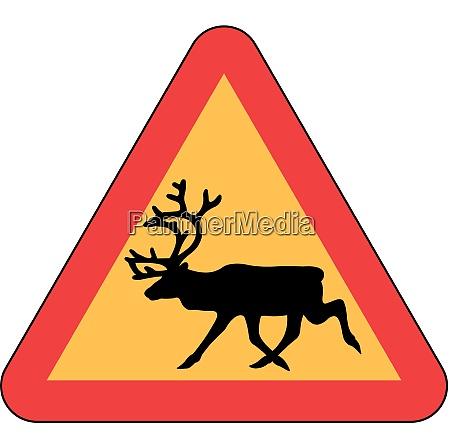 danger wild animal crossing elk reindeer