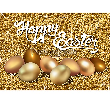 happy easter greeting with golden eggs