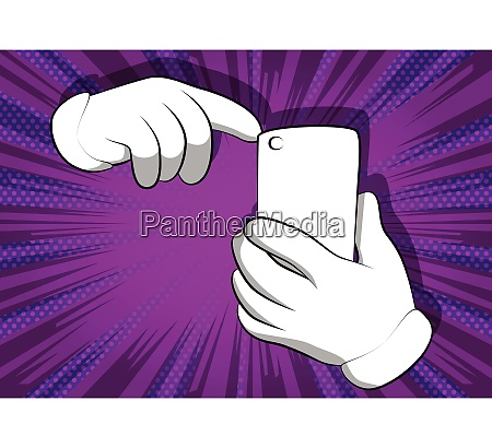 cartoon hands using a mobile phone