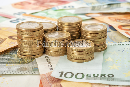 stacks of coins with euro