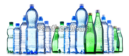 different sorts of bottles containing mineral