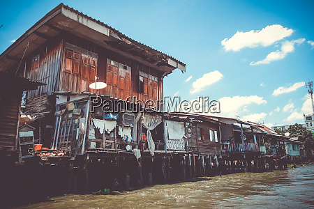 traditional houses on khlong bangkok thailand