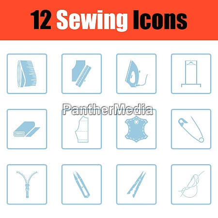 set of sewing icons blue frame