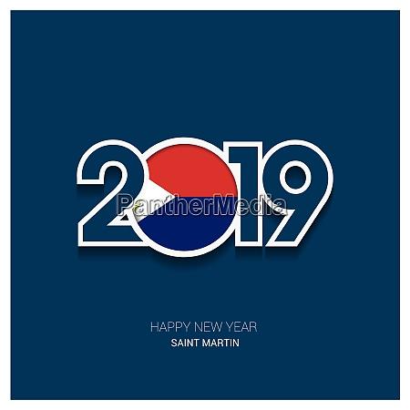 2019 saint martin typography happy new