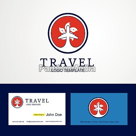 travel hongkong creative circle flag logo