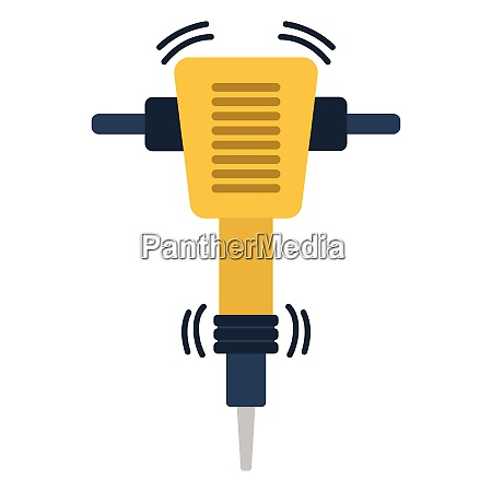 icon of construction jackhammer flat color