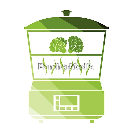 kitchen steam cooker icon flat color