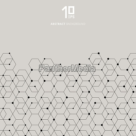 abstract technology black hexagons pattern and